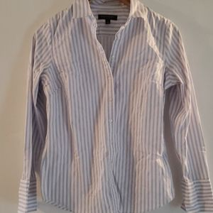 White and periwinkle striped button down